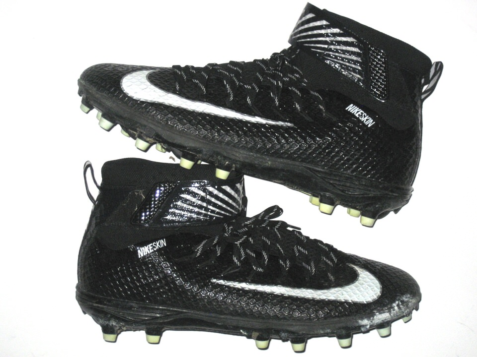 premium selection e84a2 74fad Deon Simon New York Jets Game Used   Signed Black   White Nike Lunarbeast  Elite TD