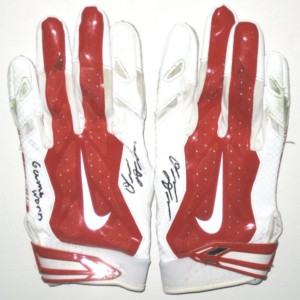 Orleans Darkwa 2016 New York Giants Game Worn & Signed Red & White Nike Vapor Jet Large Gloves