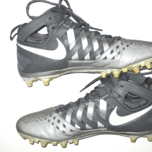 Trevin Wade New York Giants Game Worn & Signed Silver & White Nike Huarache Cleats