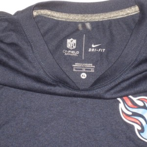 864494c6 Alex Tanney Training Worn Navy Blue Tennessee Titans #11 Long Sleeve Nike  Dri-FIT