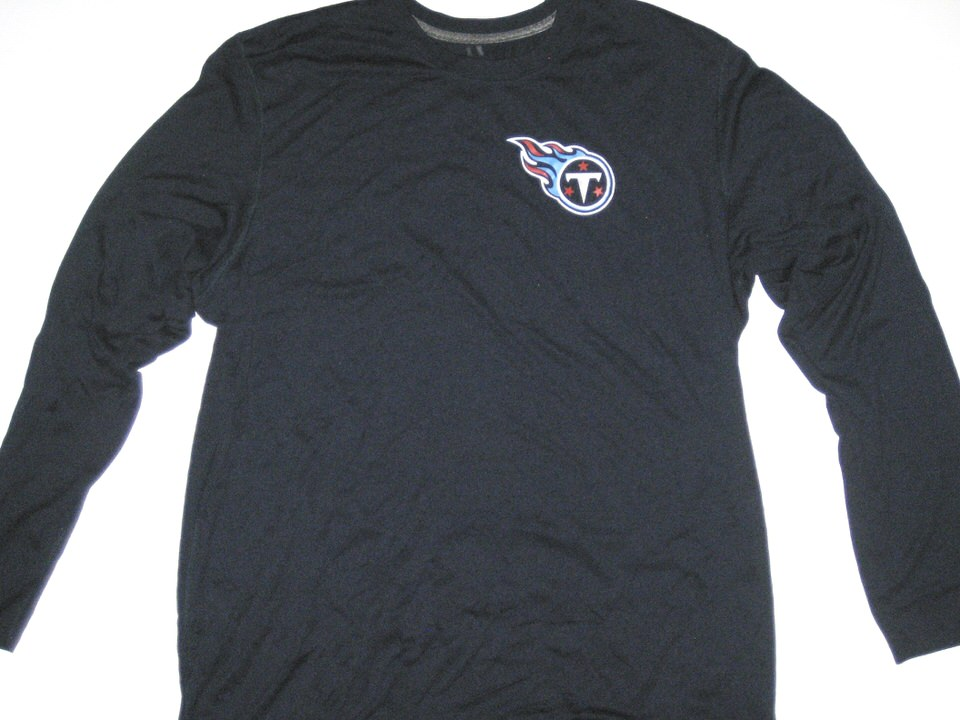 a85c57a7 Alex Tanney Training Worn Navy Blue Tennessee Titans #11 Long Sleeve Nike  Dri-FIT XL Shirt - Big Dawg Possessions