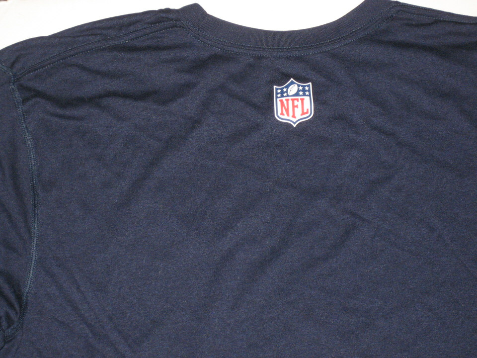 6a790f8d ... Tanney Training Worn Navy Blue Tennessee Titans #11 Long Sleeve Nike Dri -FIT Alex ...