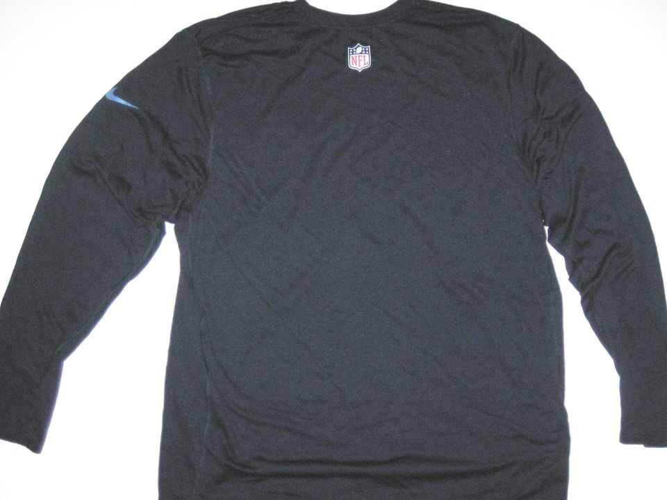 3e7fa598 ... Alex Tanney Training Worn Navy Blue Tennessee Titans #11 Long Sleeve  Nike Dri-FIT ...