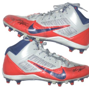 Orleans Darkwa 2016 New York Giants Game Used & Signed Red, Gray & Blue Nike Alpha Pro Cleats