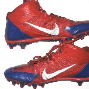 Orleans Darkwa 2016 New York Giants Game Worn & Signed Blue & Red Nike Alpha Pro Cleats