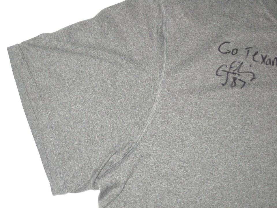 32912f35 CJ Fiedorowicz 2016 Training Worn & Signed Gray Houston Texans Nike Dri-Fit  Shirt CJ ...