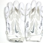 Orleans Darkwa 2016 New York Giants Game Worn & Signed White & Silver Nike Vapor Jet Gloves