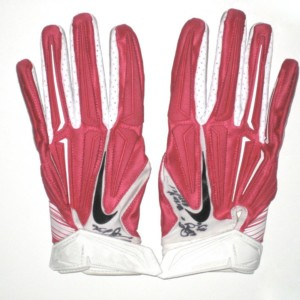 Darrel Young Washington Redskins Game Used & Signed Pink & White Breast Cancer Awareness Nike Superbad XL Gloves