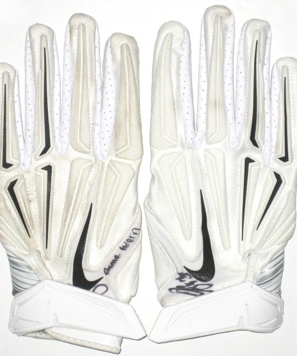 Darrel Young Washington Redskins Game Worn & Signed White & Silver Nike Superbad Gloves