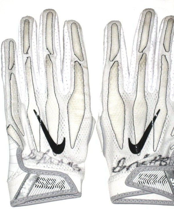 Deon Simon 2016 New York Jets Game Used & Signed White & Black Nike Superbad 4.0 Gloves