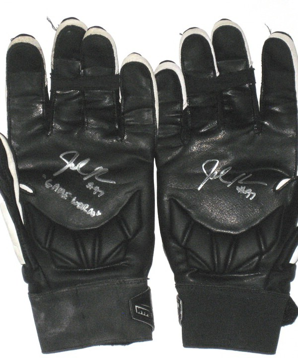 Josh Mauro Arizona Cardinals Game Used & Signed Black & White Nike Hyperbeast XXL Gloves