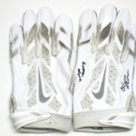 Orleans Darkwa New York Giants Game Used & Signed White & Silver Nike Vapor Jet Gloves
