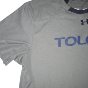 Storm Norton Training Worn & Signed Gray & Blue Toledo Rockets Under Armour 2XL Shirt