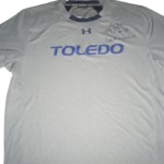 Storm Norton Training Worn & Signed Gray & Blue Toledo Rockets Under Armour Shirt
