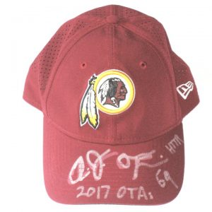 AJ Francis 2017 OTA's Worn & Autographed Washington Redskins New Era 9TWENTY Adjustable Hat