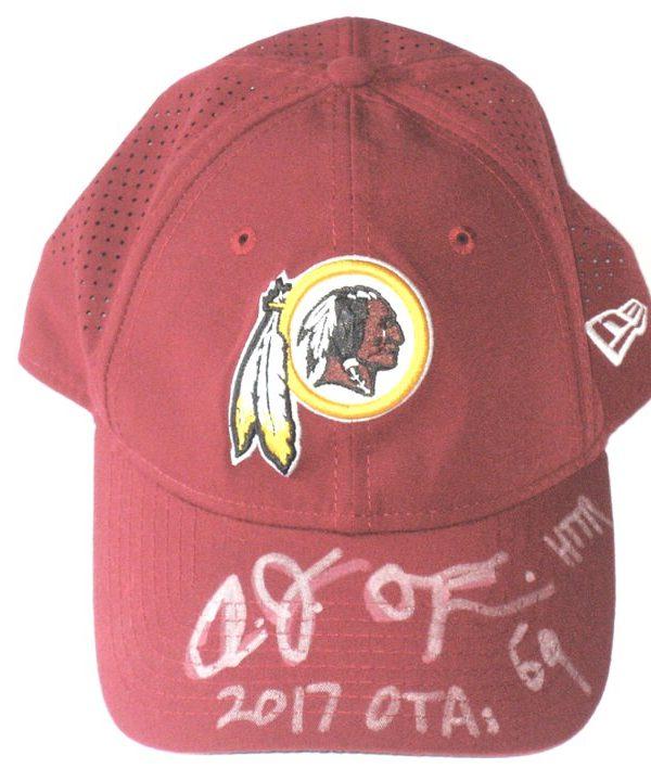 AJ Francis 2017 OTA's Worn & Autographed Washington Redskins New Era 9TWENTY Adjustable Hat