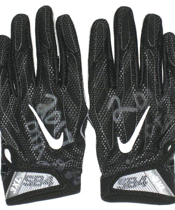 AJ Francis Washington Redskins 2017 OTA's Worn & Signed Black & White Nike Superbad 4.0 Gloves