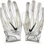 CJ Fiedorowicz 2016 Houston Texans Game Worn & Signed White & Silver Nike Superbad 4.0 3XL Gloves