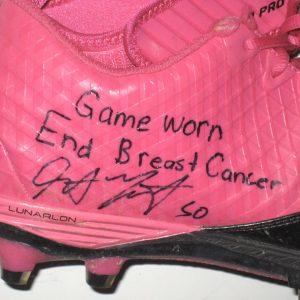 Garrett McIntyre New York Jets Game Worn & Signed Pink & Black Breast Cancer Awareness Nike Superbad Pro Cleats