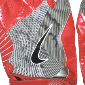 Darren Fells Arizona Cardinals Game Worn & Signed Red, Silver & White Nike Gloves