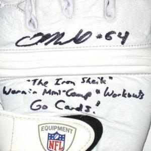 Dean Muhtadi AKA Mojo Rawley Arizona Cardinals 2010 Mini-Camp Worn & Signed White, Black & Gray Nike Gloves