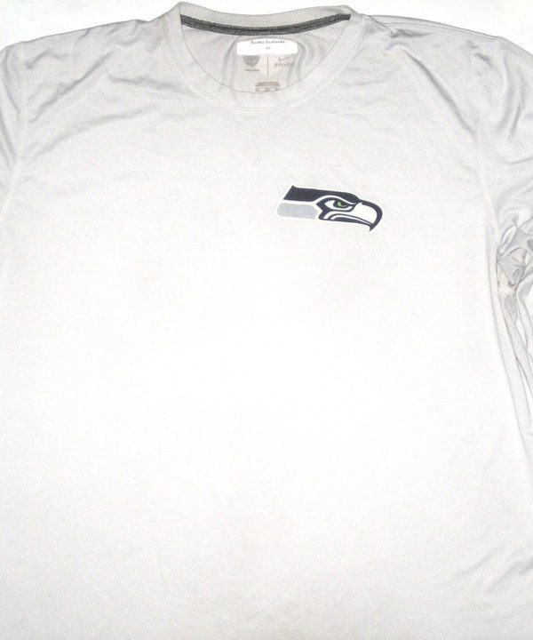 AJ Francis Player Issued White Seattle Seahawks #99 Long Sleeve Nike Dri-Fit Shirt