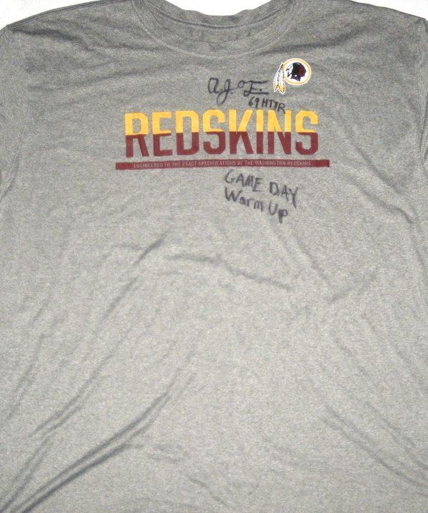 AJ Francis Pregame Worn   Signed Official Washington Redskins  69 Long  Sleeve Nike Dri-Fit 4XL Shirt 4171bb97c