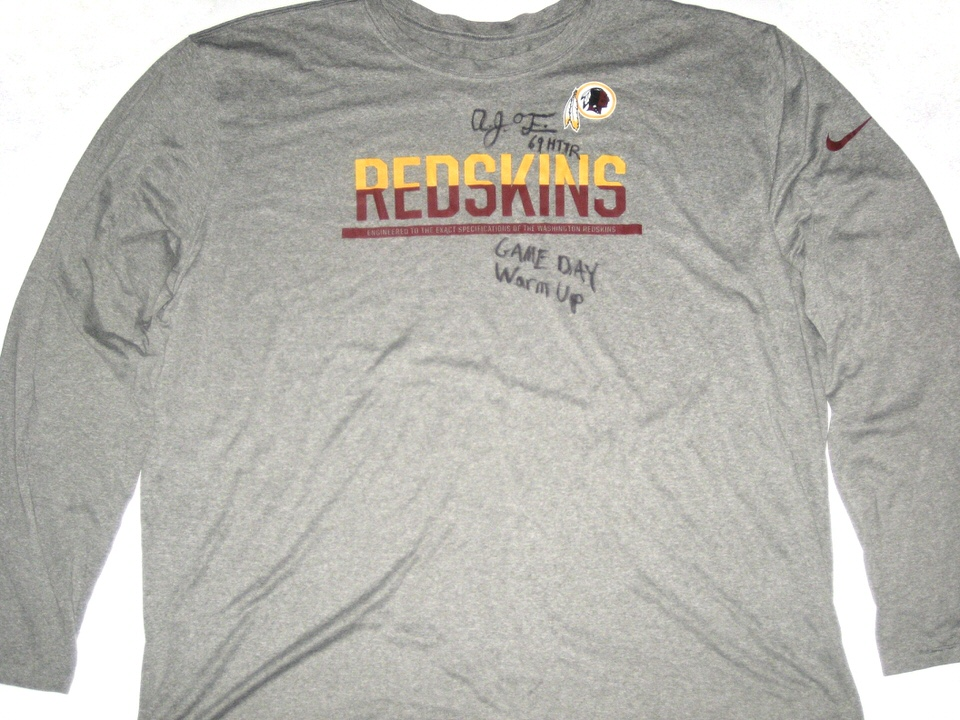 separation shoes afb44 4ccda AJ Francis Pregame Worn & Signed Official Washington Redskins #69 Long  Sleeve Nike Dri-Fit 4XL Shirt
