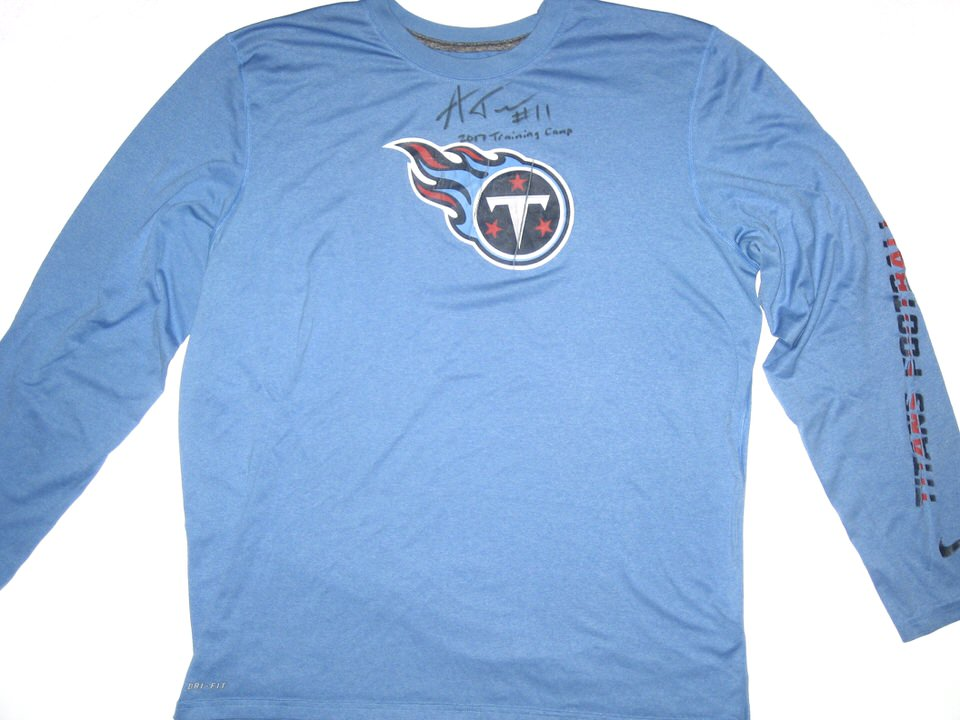 77712161 Alex Tanney 2017 Training Camp Worn & Signed Official Blue Tennessee Titans  Long Sleeve Nike Dri