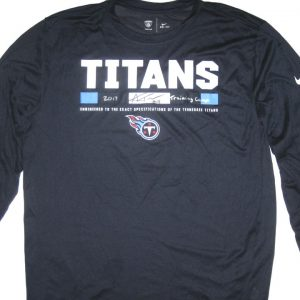 Alex Tanney 2017 Training Camp Worn & Signed Official Blue Tennessee Titans Long Sleeve Nike Dri-Fit Shirt