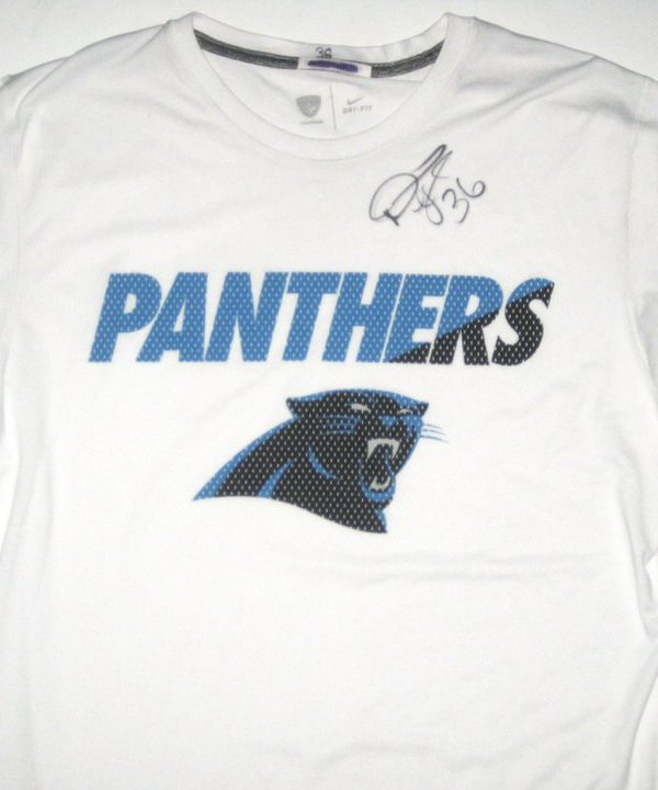 Darrel Young 2017 Training Camp Worn & Signed Carolina Panthers Long Sleeve Nike Dri-Fit Shirt
