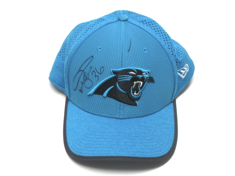 Darrel Young Official 2017 Training Camp Worn   Autographed Carolina  Panthers New Era 39THIRTY Flex Hat df77b14fa