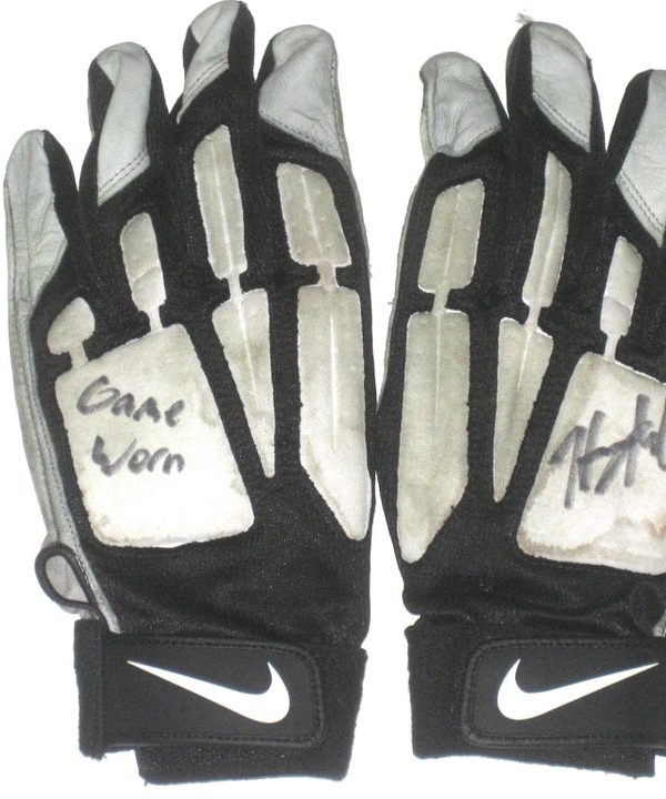 Henry Anderson Indianapolis Colts 2016 Game Worn & Signed White, Gray & Black Nike Gloves - Awesome Use!!!