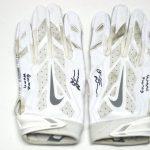 Orleans Darkwa New York Giants Game Worn & Signed White & Silver Nike Vapor Jet Gloves
