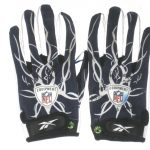 SJ Green Montreal Alouettes Game Used & Signed Blue & White Reebok Mayhem Gloves - Worn Vs Hamilton Tiger-Cats, Caught 8 Passes for 150 Yards!!