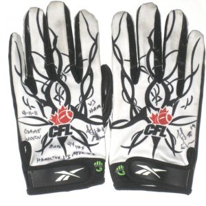 SJ Green Montreal Alouettes Game Used & Signed White & Black Reebok Gloves - Worn Vs Hamilton, 8 Catches for 94 Yards!