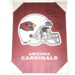 Darren Fells Signed & Inscribed Arizona Cardinals Helmet 18 x 24 Canvas Print - From Personal Collection!