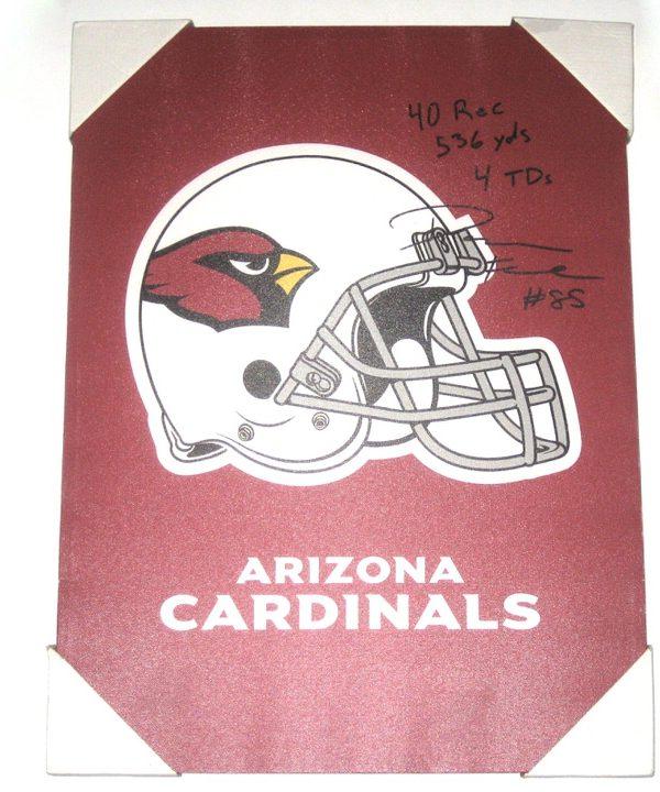 Darren Fells Signed & Inscribed Arizona Cardinals Helmet 18 x 24 Canvas Print - From Personal Collection!