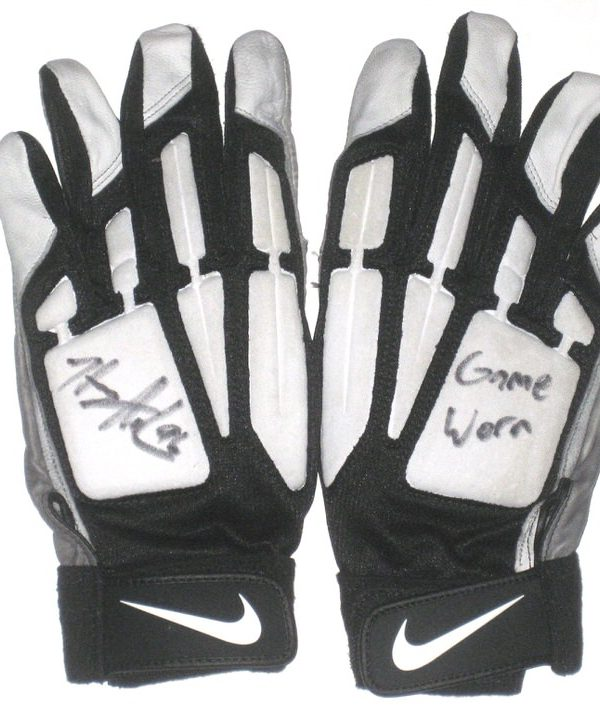 Henry Anderson Indianapolis Colts 2016 Game Used & Signed White, Gray & Black Nike Gloves