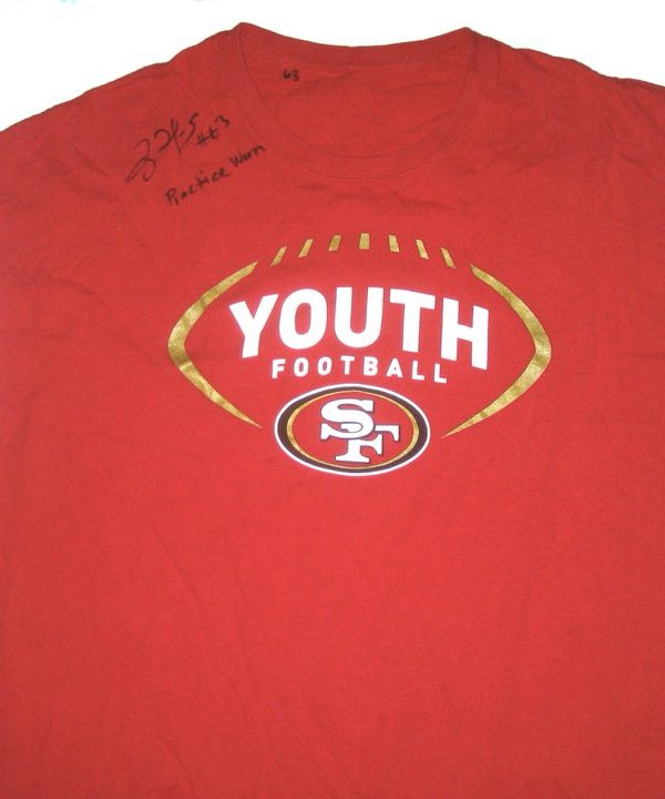 Tony Jerod-Eddie Practice Worn & Signed San Francisco 49ers Youth Football Shirt