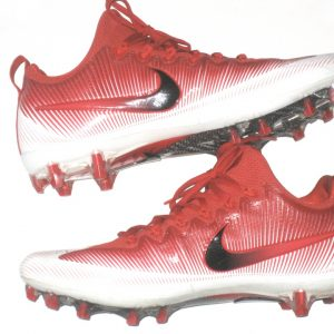 Andrew Adams 2017 New York Giants Game Worn & Signed Red & White Nike Vapor Cleats