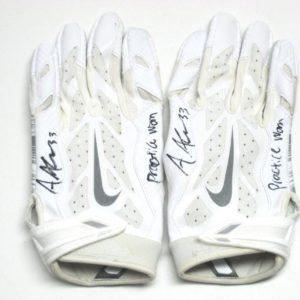 9dfb8f9895 Andrew Adams New York Giants Practice Worn & Signed White & Silver Nike  Vapor Jet Gloves