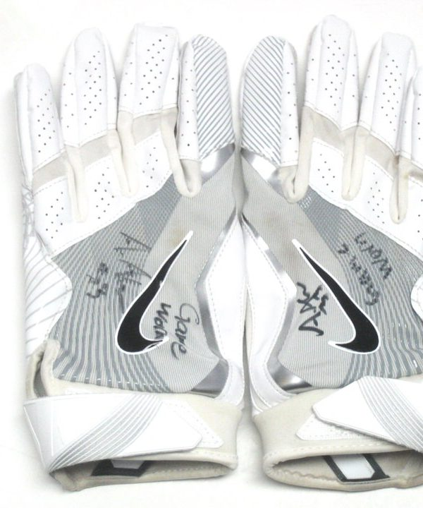 Andrew Adams New York Giants Game Worn & Signed White & Silver Nike Gloves