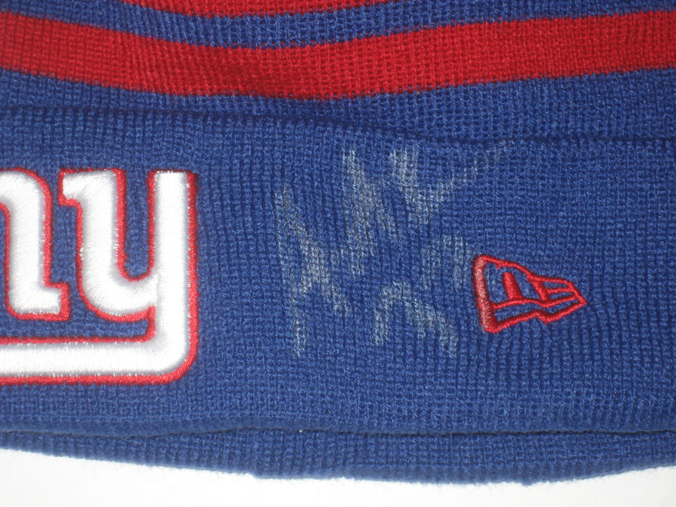 6ff8f94a Andrew Adams Pre-Owned & Signed Official New York Giants New Era Knit Hat