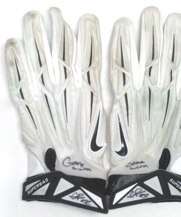 Craig Robertson Cleveland Browns Game Used & Signed White & Black Nike Superbad Gloves