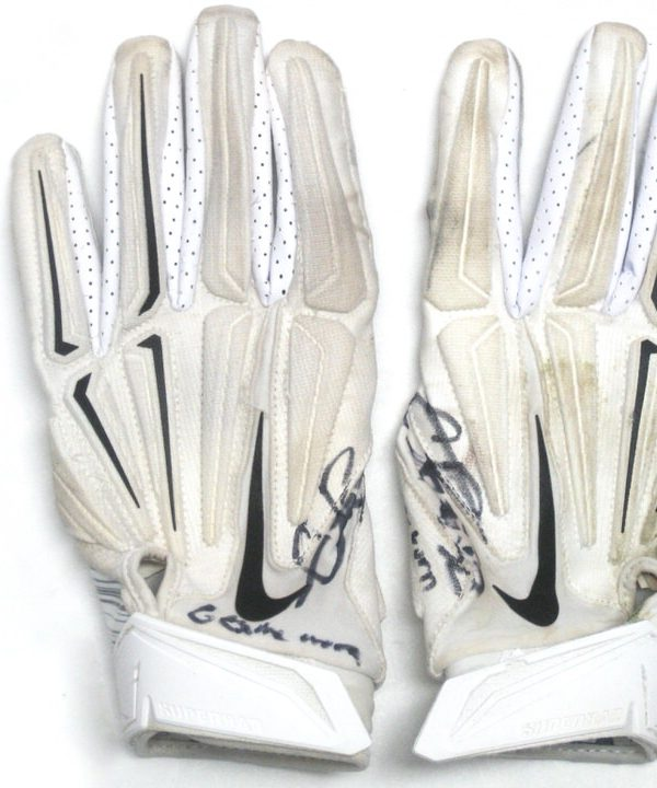 Craig Robertson New Orleans Saints Game Worn & Signed White & Silver Nike Superbad Gloves