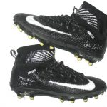 Deon Simon 2017 New York Jets Game Used & Signed Black & White Nike Lunarbeast Elite TD Cleats