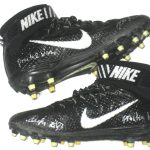 Deon Simon New York Jets Practice Worn & Signed Black & White Nike Lunarbeast Elite Cleats