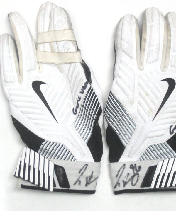 Jay Bromley New York Giants Game Used & Signed White, Black & Gray Nike Gloves