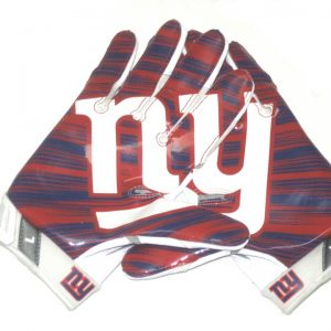Orleans Darkwa 2017 Game Worn & Signed New York Giants Team Logo Nike Vapor Jet Large Gloves